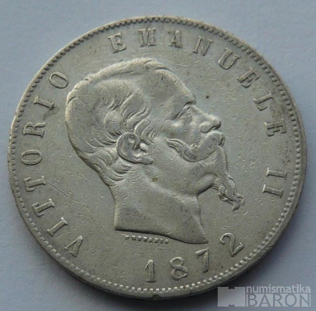 Itálie 5 Lir 1872 Vik.Emanuel I.