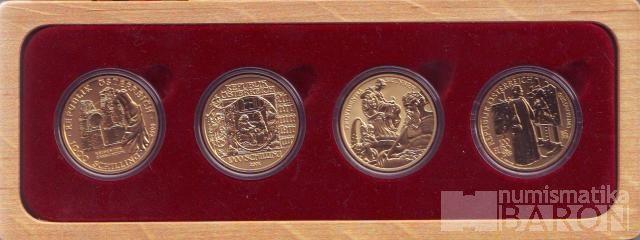 100 Euro/1000 Schilling(2000-2003-Au 986-16g), stav 0/0, dřevěná etue a certifikát, 4 kusy