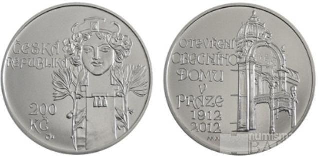 200 Kč(2012-100. výročí otevření Obecního domu v Praze), stav PROOF, etue a certifikát