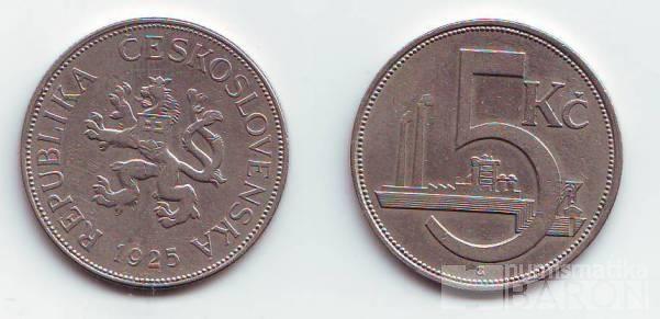 5 Kč(1925), stav 1+/1