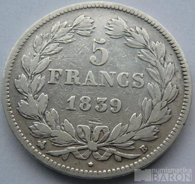 Francie 5 Frank 1839 B Ludvík Filip