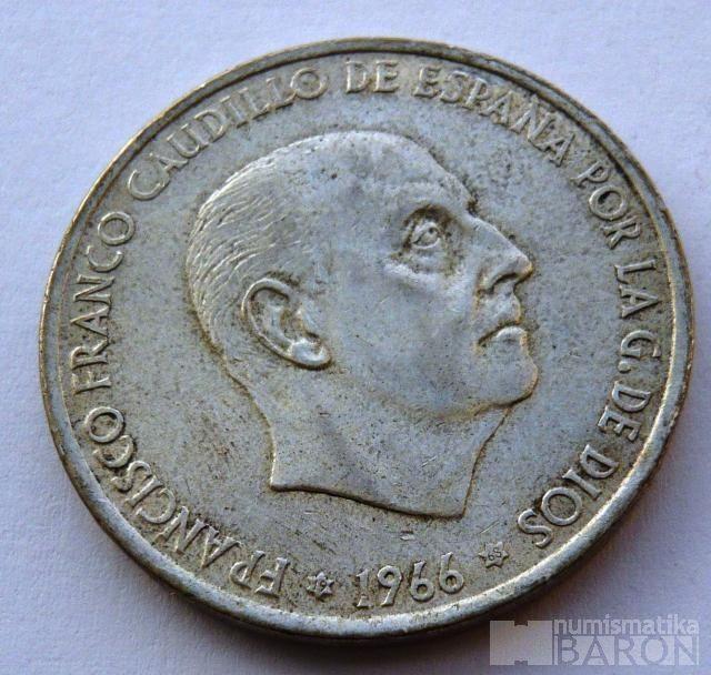 Španělsko 10 Peseta generál Franco 1966 Ag