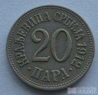 Srbsko 20 Para 1912