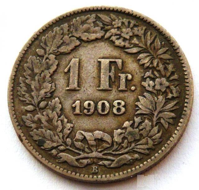Švýcarsko 1 Frank 1908