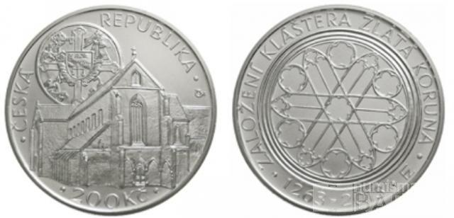 200 Kč(2013-založení kláštera Zlatá Koruna), stav PROOF, etue a certifikát