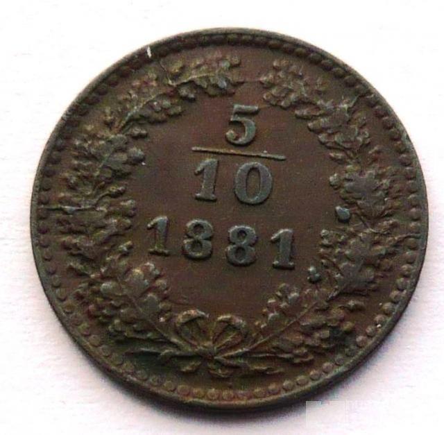 5/10 Krejcar 1881 - STAV!