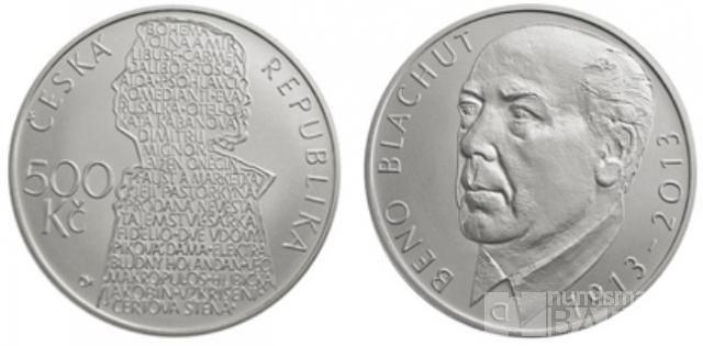 500 Kč(2013-Beno Blachut), stav PROOF, etue, certifikát