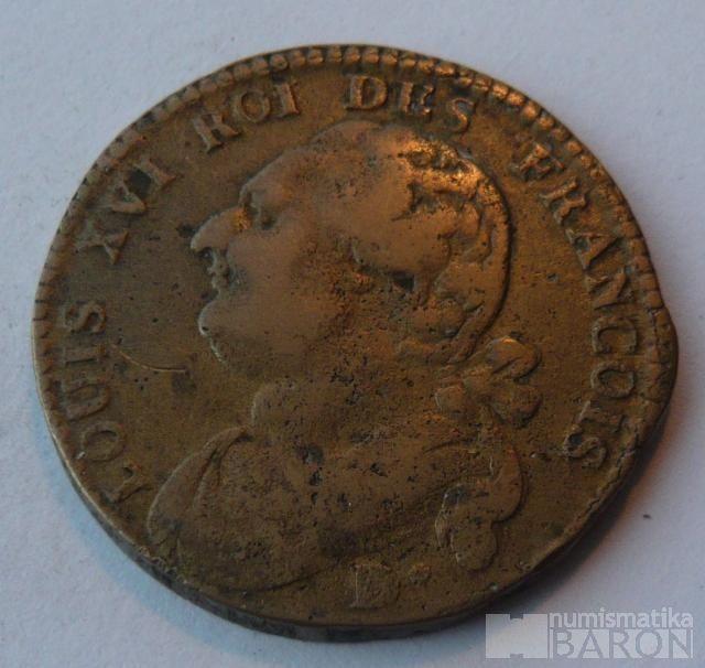 Francie 10 Deniers 1774-93 Ludvík XVI.