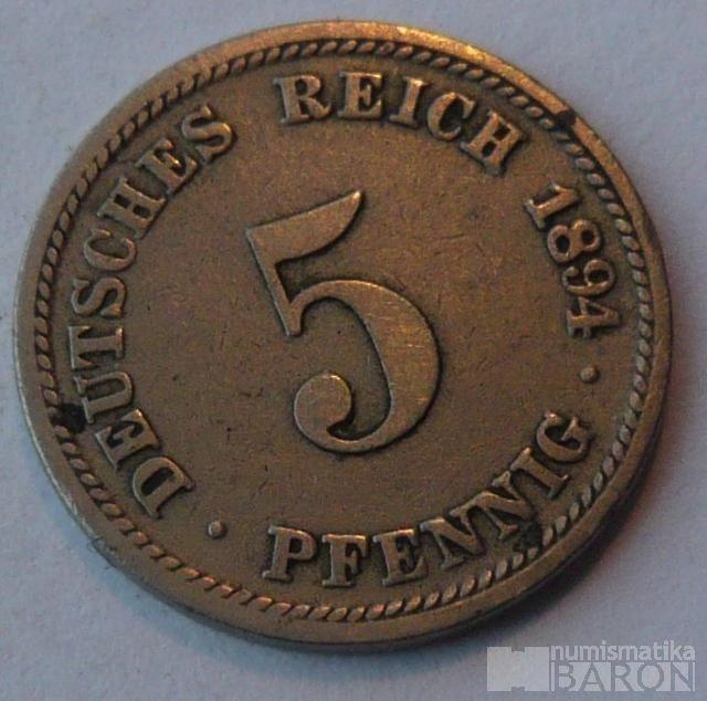 Německo 5 Pf 1894 D