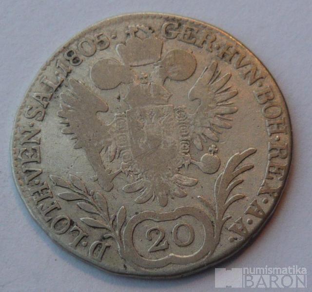 Uhry 20 Krejcar 1805 B Frant. II.