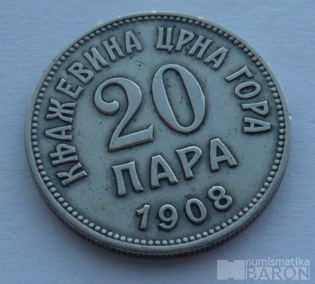 Černá Hora 20 Para 1908
