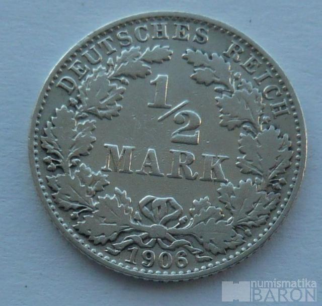 Německo 1/2 Marka 1906 D
