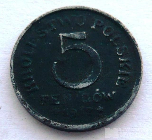 Polsko 5 Fenik - okupační 1917