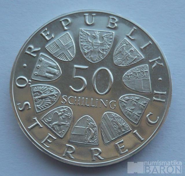 Rakousko 50 Schilling císař Maxmilián 1969