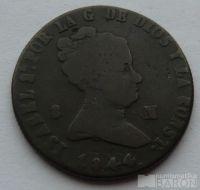 Španělsko 8 Maravedis 1844 Isabella