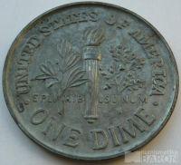 USA mincovní plaketa One Dime 1965