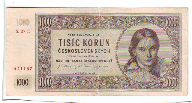 1000Kčs/16.5.1945/, stav 2+, série 07 E