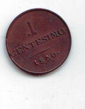 1 Centesimo(1850-ražba M), stav 1+/1+ dr.hr, krásná patina