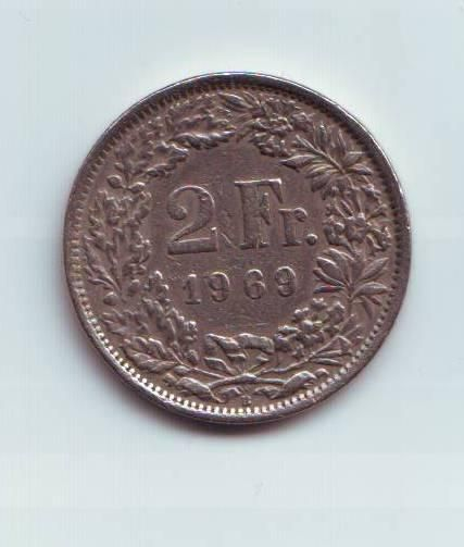 2 Frank(1969-Švýcarsko), stav 1-/1-