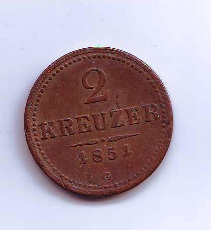 2 Krejcar(1851-ražba malé G), stav 2+/1- dr.hr