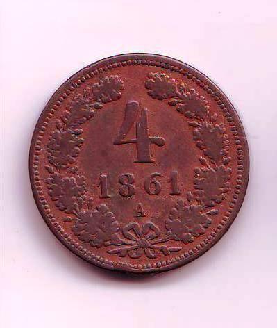 4 Krejcar(1861-ražba A), stav 2+/2+ dr.hr.
