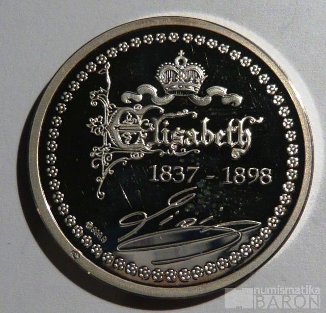 ČSR - Zlatá koruna Ag med-císařovna Sissi + o.etue