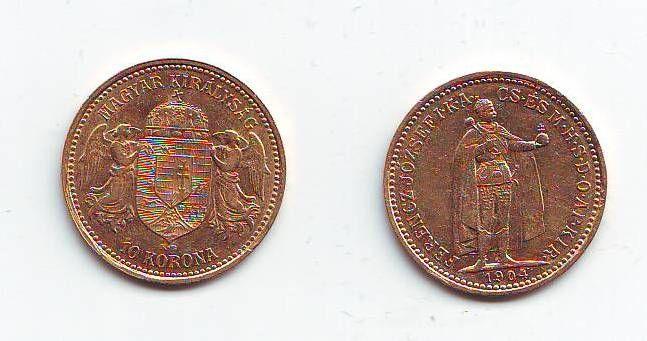 10 Koruna(1904-Au 900-3,4g-ražba KB), stav 1+/1+