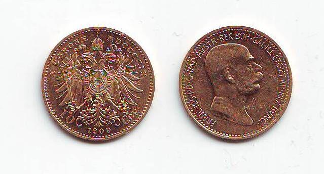 10 Koruna(1909-Au 900-3,4g-ražba bz), stav 1+/1+, typ Marschall