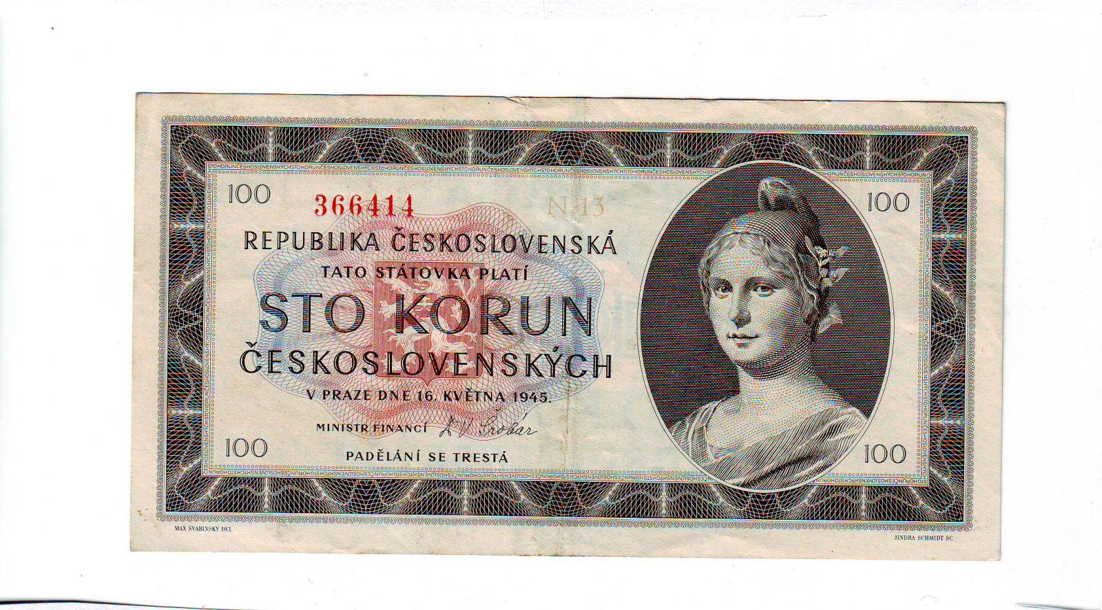 100Kčs/16.5.1945/, stav 1, série N 13