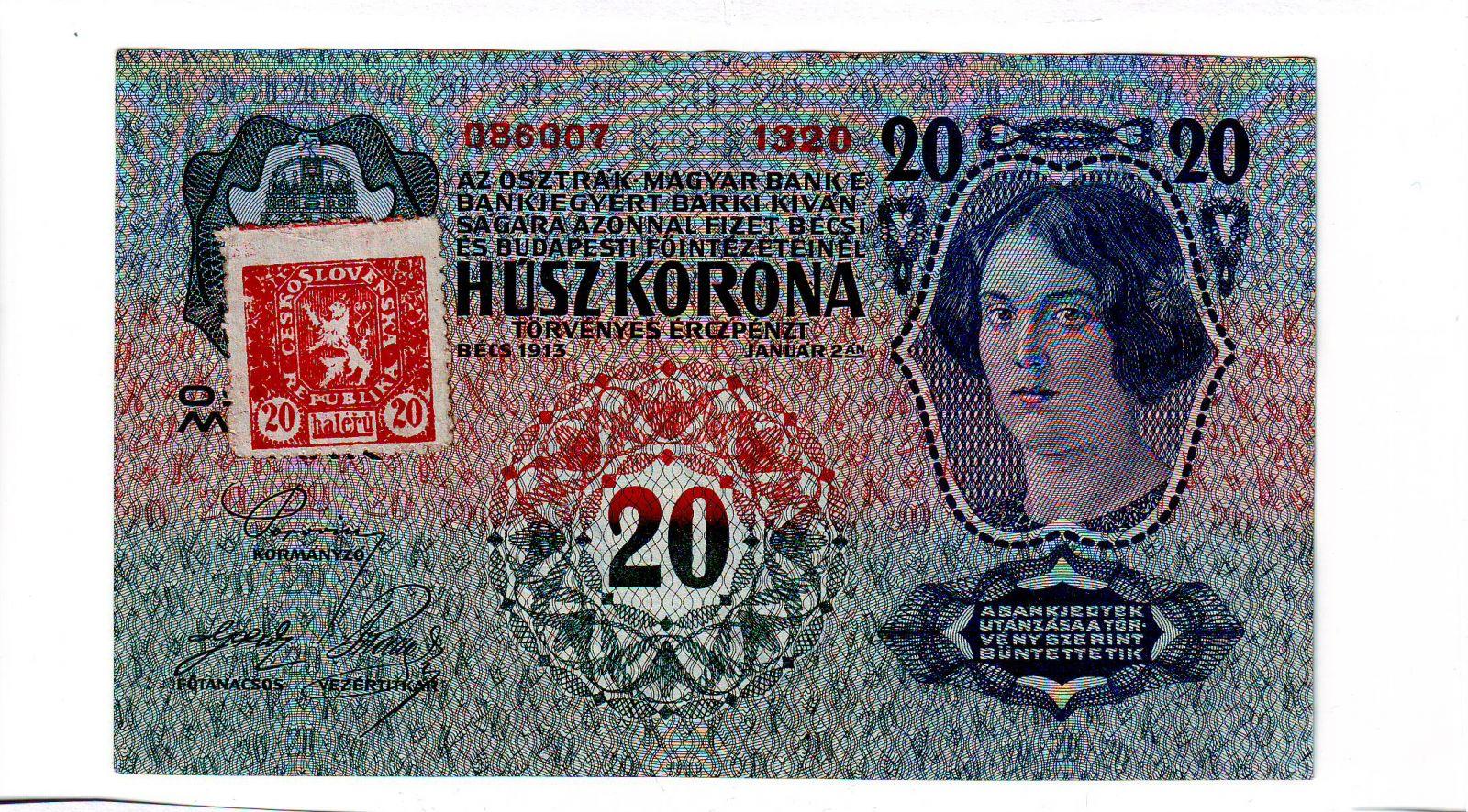 20Kč/1913-19, kolek ČSR/, stav 1+, série 1320 - I.vydání