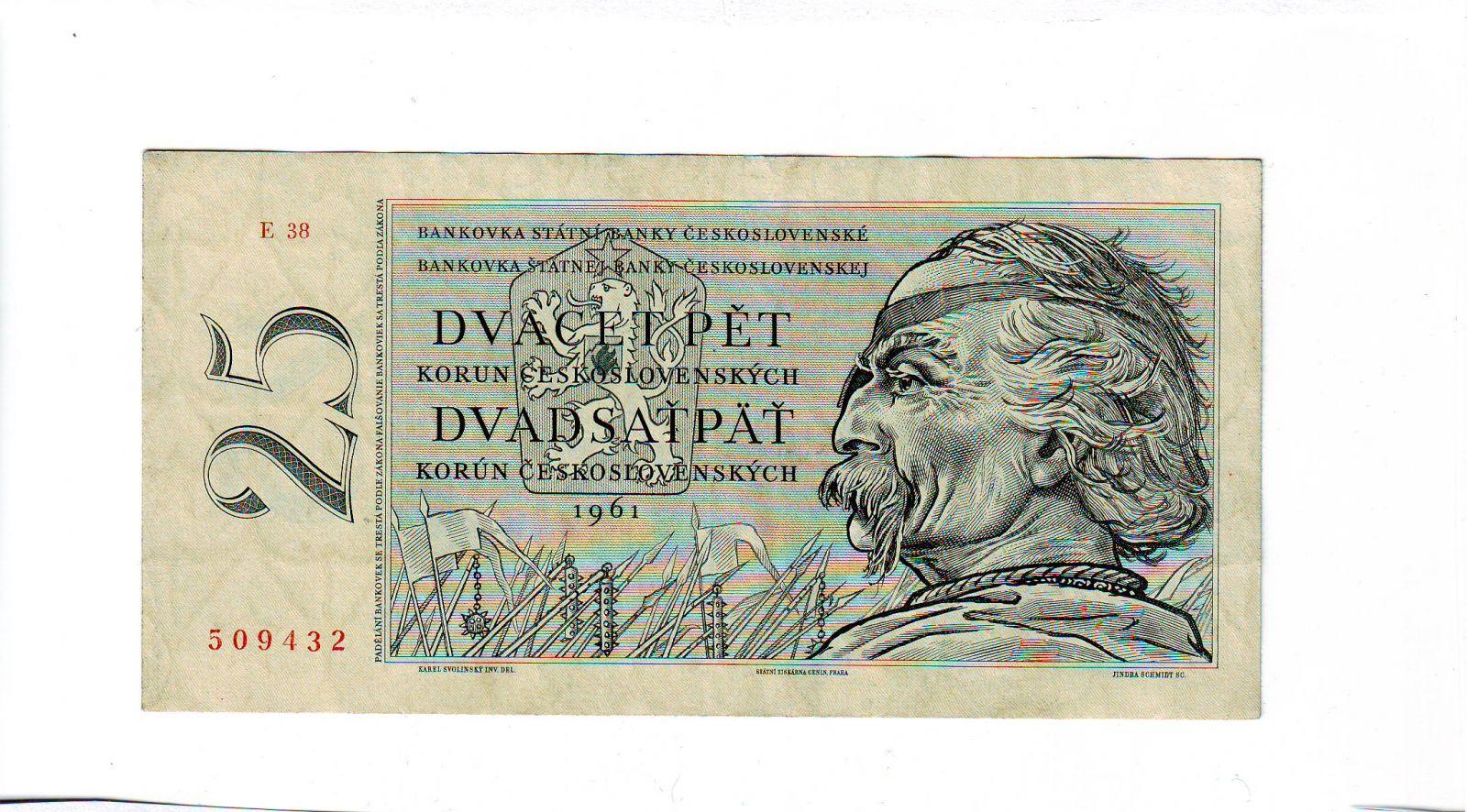 25Kčs/1961/, stav 1, série E 38