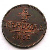 Rakousko 1/4 Krejcar 1851 STAV A