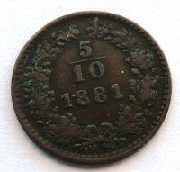 Rakousko 5/10 Krejcar 1881