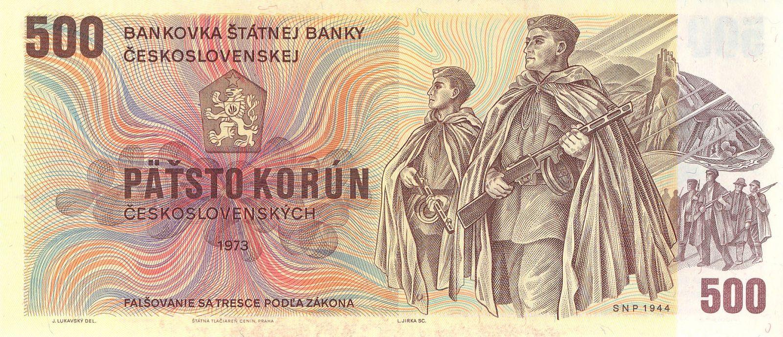 500Kčs/1973/, stav UNC, série U