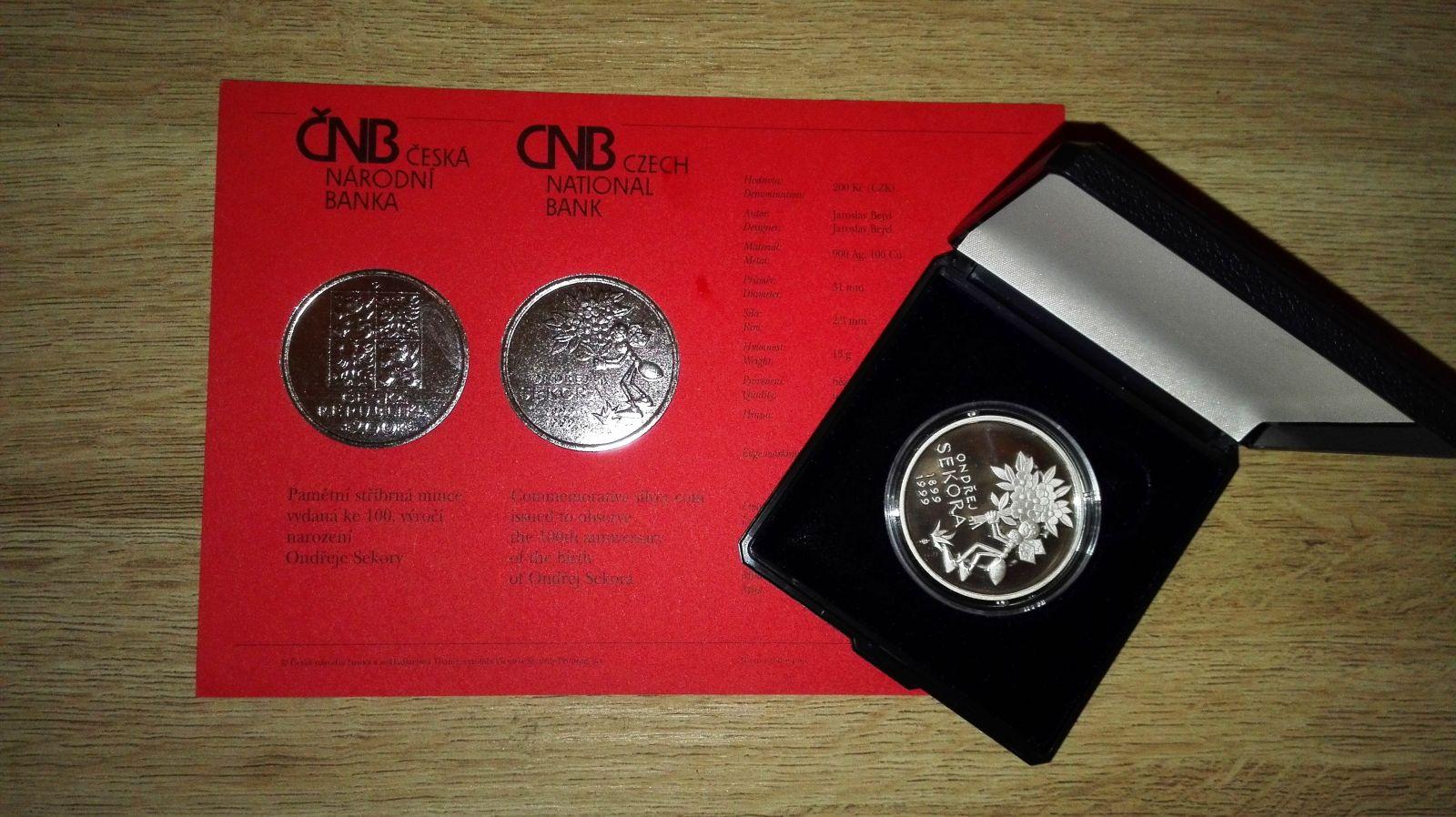 200 Kč(1999-Sekora), stav PROOF, etue, certifikát