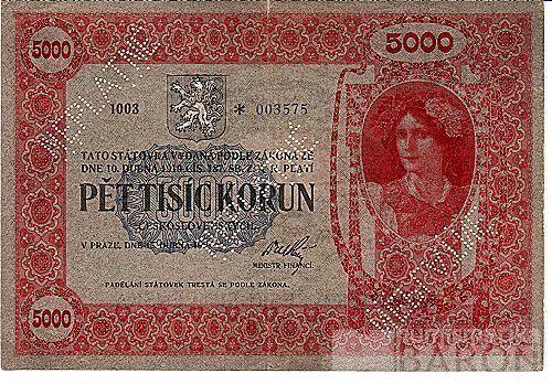 KOPIE 5000Kč/1919/, stav UNC
