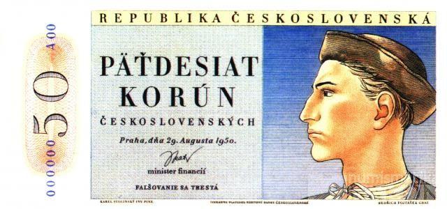 KOPIE 50Kčs/1950/, stav UNC