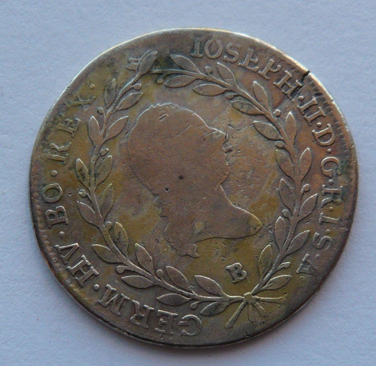 Uhry B 20 Krejcar 1786 Josef II.