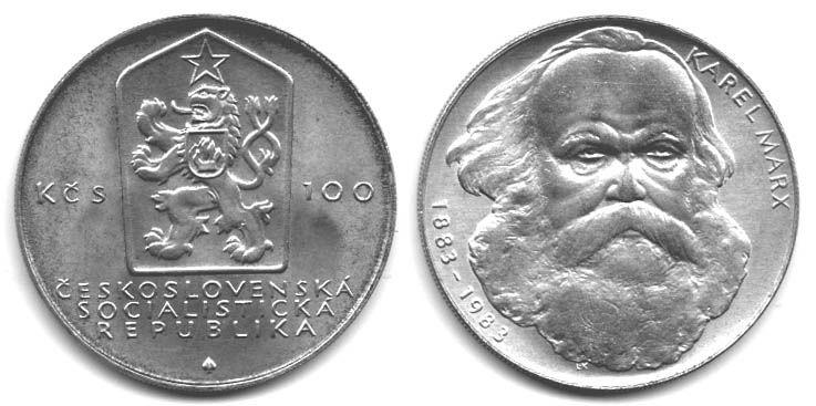 100 Kčs(1983-Karel Marx), stav 1+/0