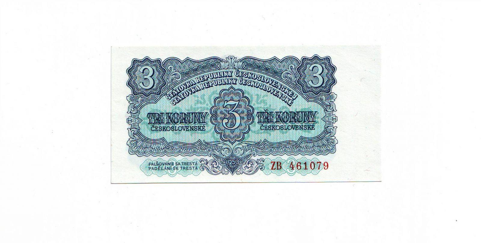 3Kčs/1953/, stav UNC, tisk GOZNAK