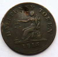 Anglie TOKEN 1815, Kontramarka