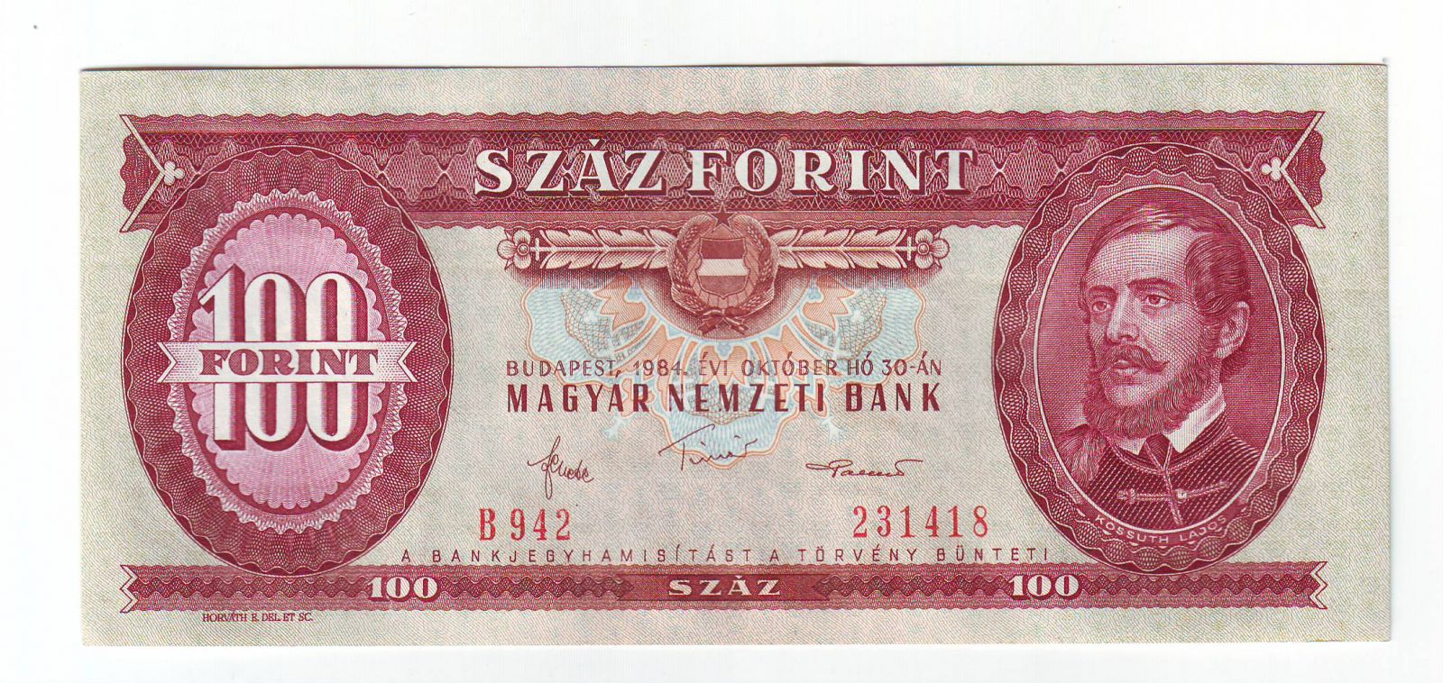 100 Forint(1984), stav UNC, série B 942 nebo 952