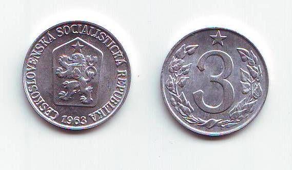 3 Haléř(1963), stav RL (dokonalá zachovalost)