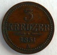 Rakousko 3 Krejcar 1851 STAV A