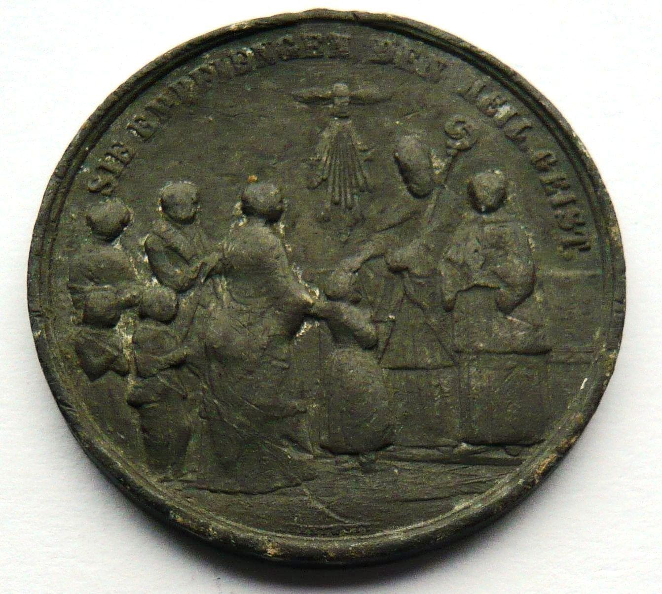 Vatikán církevní biřmovací medaile cín