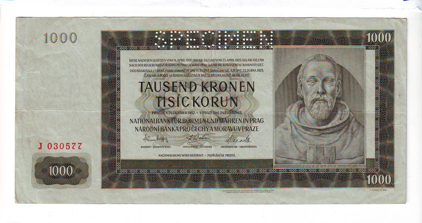 1000K/1942/, stav 2 perf. SPECIMEN, série J