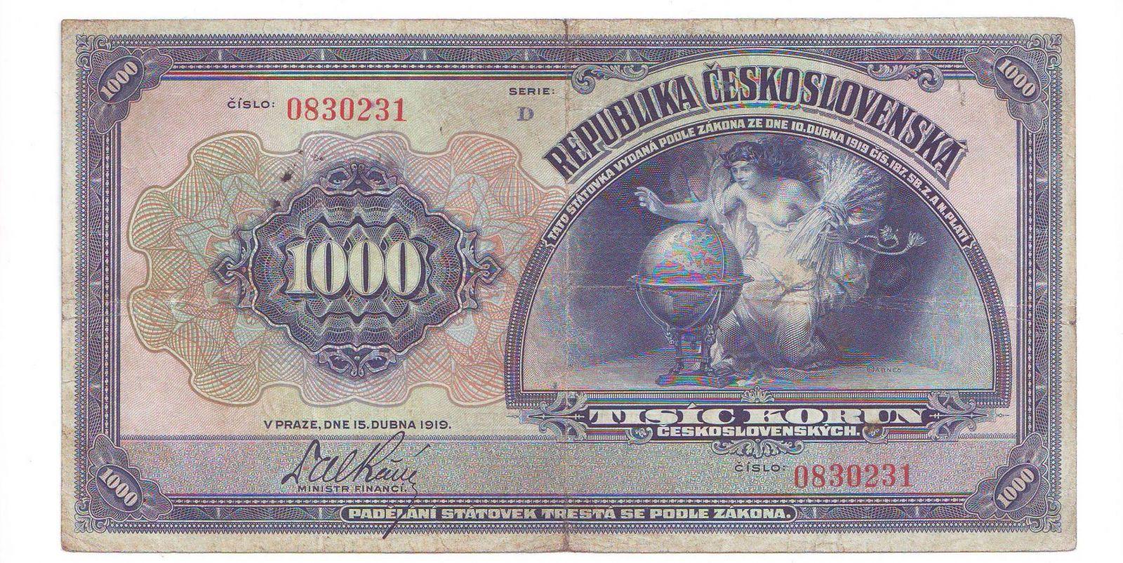 1000Kč/1919/, stav 2-, série D