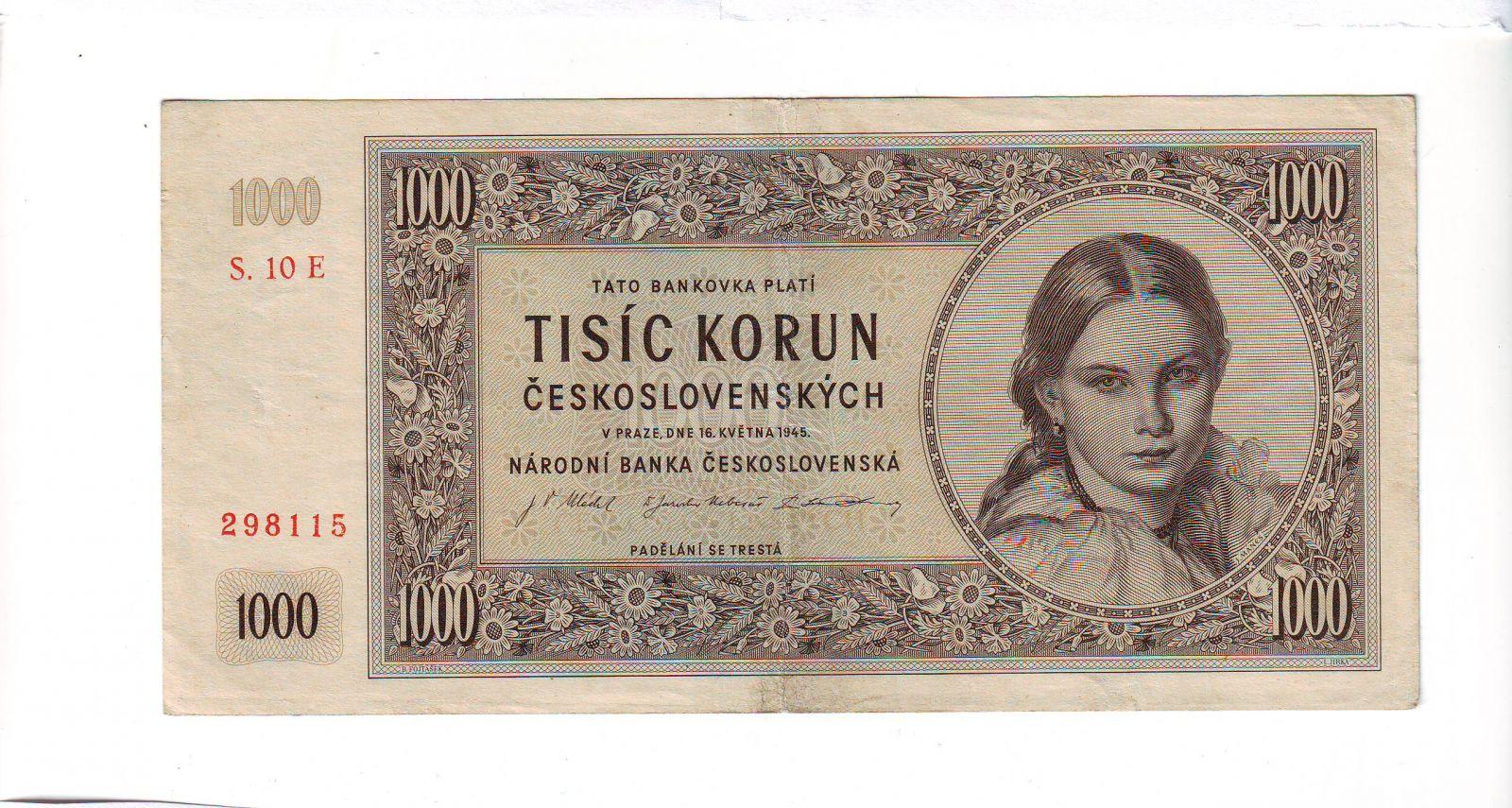 1000Kčs/16.5.1945/, stav 1, série 10 E
