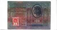 100Kč/1912-18, kolek stříhaný ČSR/, stav 2, série 2115