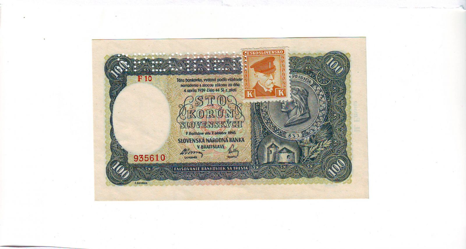 100Ks/1940-kolek ČSR/, stav UNC perf. SPECIMEN, série F 10 - II.vydání